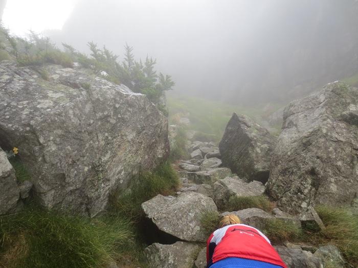 Nära toppen där klättringen var grymt tuff.