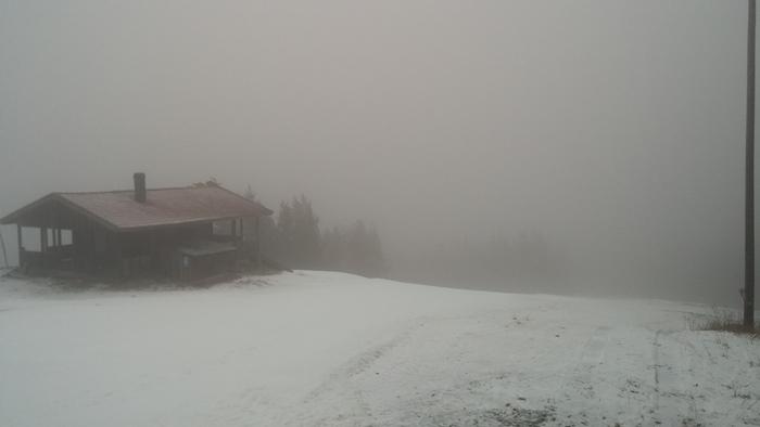 Dimman på toppen av slalombacken efter 4:e intervallen.